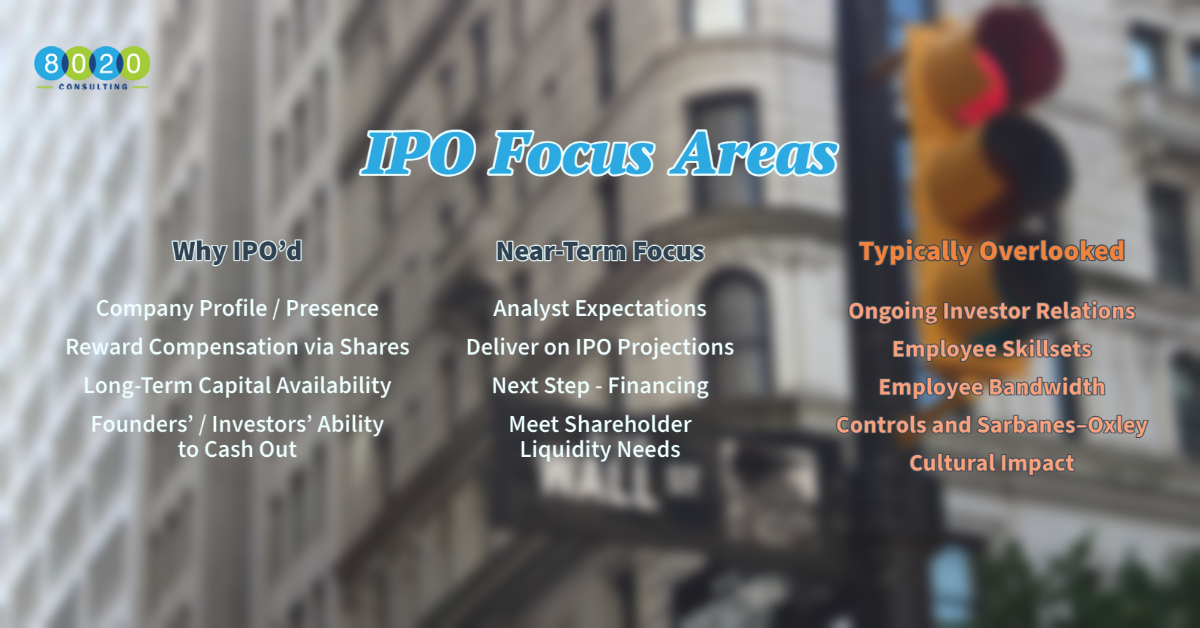 focus areas for successful ipos that are typically overlooked chart; includes why companies ipo and near-term focus areas